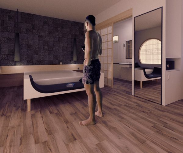 MAN in bedroom standing